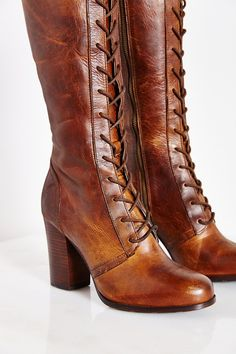 These boots are such a beautiful color! Hmm, oh the outfits these would match with <3 Frye Parker Lace-Up Tall Boot in Brown | Lyst