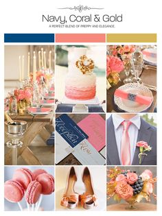 Navy, coral and gold wedding inspiration board, color palette, mood board via Weddings Illustrated