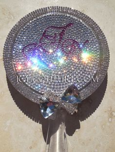 Swarovski BLING Custom Hand Held MIRROR with Your Initials in Crystals