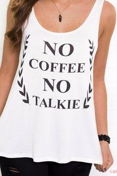 No Coffee No Talkie Ivory Graphic Tank