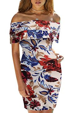 13ebb0305b Nanquan-women clothes NQ Women s Sexy Off Shoulder Ruffle Bodycon Floral  Print Party Mini Dress