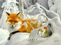 Gnome and Fox Friend ~ Staffan Ullstrom Fox Illustration, Illustrations, Kobold, Scandinavian Gnomes, Forest Creatures, Fox Art, All Nature, Christmas Gnome, Wolf