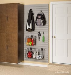 Hooks, baskets and racks create convenient storage for tools, hoses, yard equipment, and sports gear.