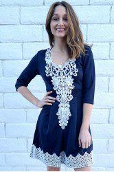 Stylish Women's 1/2 Sleeve Lace Splicing Round Neck A-Line Dress (PURPLISH BLUE,XL)   Sammydress.com Mobile