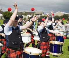 Pipe band drummers
