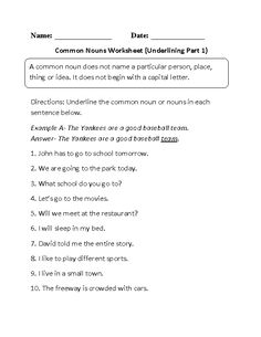 Underlining Common Nouns Worksheet