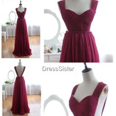 Long Open Back Plum Bridesmaid Dresses Long by DressSister, $119.99