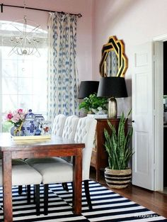 Eclectic Home Tour of Hi Sugarplum Blog - love this bold dining room with a fun red ceiling! eclecticallyvintage.com