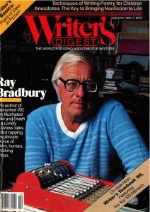 Pinterest Pin - Cross Author's Birthday: Ray Bradbury. This image comes from an article full of wonderful quotes he penned on the art of writing.