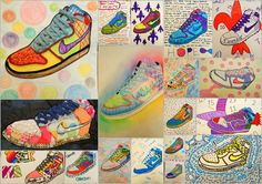 Shoe art by middle/high school students. Great inspiration for our shoe art project!