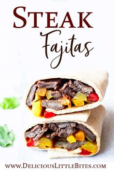 Steak Fajitas are a quick and easy dinner recipe for busy weeknights. They are loaded with delicious seasonings and a zesty chili lime marinade. You can use skirt, flank, or flat iron steak. This meal can be ready to eat in just 30 minutes or marinate a bit longer for a more intense flavor. This recipe is low carb and keto friendly and can be made gluten free, as well. | #steakfajitas #beeffajitas #ketofajitas #glutenfreefajitas #lowcarbfajitas Healthy Beef Recipes, Turkey Recipes, Pork Recipes, Seafood Recipes, Mexican Food Recipes, Free Recipes, Keto Recipes, Easy Steak Fajitas, Steak Fajita Recipe