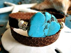 Perfect Treasures - Cognac Brown Snake Skin Embossed Leather Double Wrap Natural Turquoise and Pearl Bracelet   by LeatherDiva, $36.00
