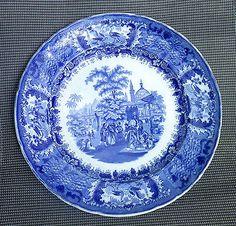 ¤ Grand plat en camaïeu bleu ancien Johnston Vieillard Bordeaux décor oriental. cette pièce correspond à la période de collaboration entre Johnston et Vieillard.