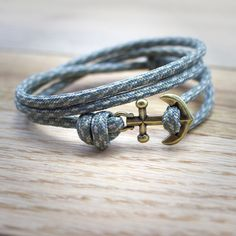 Anchor Paracord Nautical Bracelet in Gray by DesignedTurning, $16.00