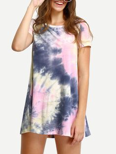 Shop Multicolor Ink Print Short Sleeve Casual Shirt Dress online. SheIn offers…