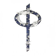 Pendant by Theo Fennell   18ct White Gold, 0.13ct Diamond and 0.82ct Sapphire