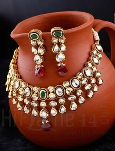 Bridal Necklace Set with Red and Green Stones