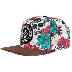 Boné Aba Reta Snapback Hosh Wear Skull Flowers 9833a74f124
