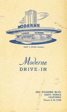 Moderne Drive-in Santa Monica vintage matchbook ~ Los Angeles