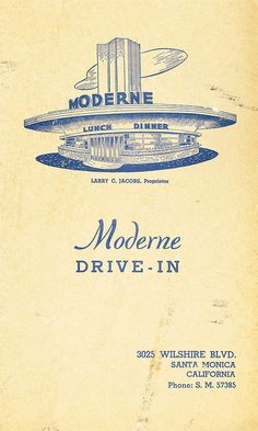 Moderne Drive-in Santa Monica vintage matchbook ~ Los Angeles