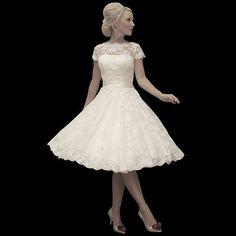 Fantastic A line lace wedding dress/ivory lace wedding dresses/vintage knee length lace wedding dress/short lace bodice dress/princess dress on Etsy, $225.00