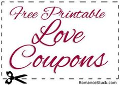 Large collection of free printable love coupons for Valentine's Day, birthdays, anniversaries, or any other romantic occasion. Love coupons make a great gift for that special person in your life. - https://www.romancestuck.com/love-coupons.htm #RomanceStuck