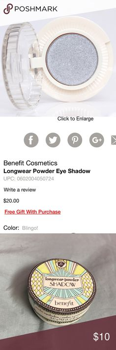 "Benefit longwear powder shadow ""blingo!"" Color ""blingo!"". Never used and has just been sitting in my makeup bag. Let me know if you want to bundle with other benefit eyeshadow. Benefit Makeup Eyeshadow"