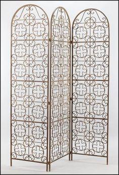 A Patinated Metal Three-Panel #Decorative Screen  Lot 147-1023