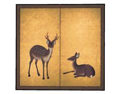 双鹿図屏風 円山応挙筆(京都国立博物館