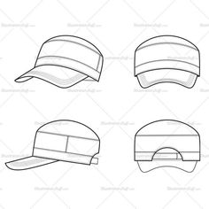 Front, back, side fashion flat vector template sketch of men's hiking cap or hat.