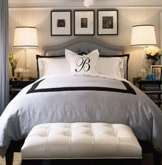 Bedroom, organization, color scheme, white, black, lighting, picture frame organization, design