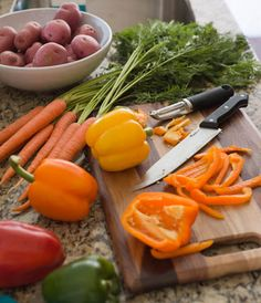 Kitchen Tip: When you're handling raw meat, synthetic cutting boards keep food prep sanitary. Wooden boards are ideal for fruits and veggies.