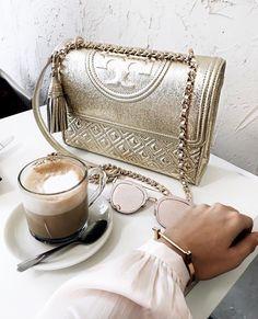 Emily Luciano takes a coffee break with her Tory Burch Fleming Metallic Small Convertible Shoulder Bag Weekender, Fitness Gifts, Shopper, Tory Burch Bag, Chanel Boy Bag, Chanel Tote, Fashion Bags, Fashion Fashion, Runway Fashion