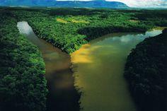 Confluencia de los ríos Orinoco (aguas blancas) y Caroní (aguas negras) en el estado Bolívar.