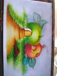 Pinturas en cuadros Tole Painting, Fabric Painting, Painting & Drawing, Tire Art, Food Sketch, Cute Disney Drawings, Oil Pastel Art, Watercolor Landscape Paintings, Flower Cards