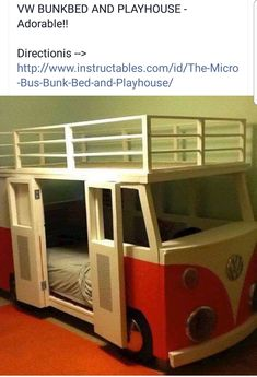 I built this for Dane, our 3 year old. VW Bus Bunk Bed(Diy Furniture For Kids) Kid Beds, Bunk Beds, Kids Beds Diy, Bed For Kids, Cool Beds For Boys, Kids Bedroom, Bedroom Decor, Bedroom Furniture, Kid Spaces