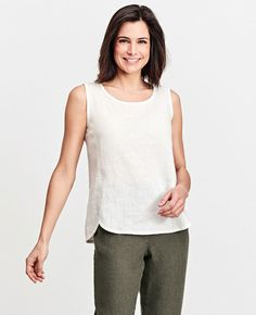 FLAX Design's FLAX Neutral Two 2016 Shaped Tank at Fg Clothing. #FLAXdesign women's linen sleeveless shaped tank