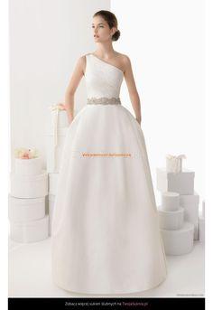 Robe de Mariée avec une bretelle perles satin