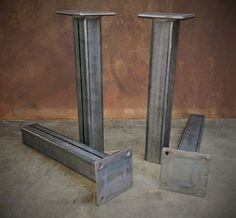 Contemporary Steel Table legs that just need a nice clean wood counter top or wood slab.  Cost Efficient, simple yet modern looking tables with a