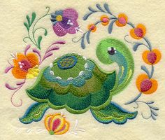 Rosemaling Turtle design (G9957) from www.Emblibrary.com