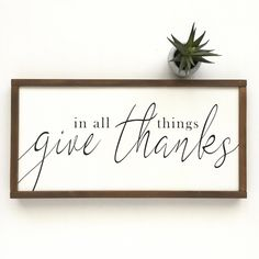 Excited to share this item from my #etsy shop: In All Things Give Thanks Sign - Fall Farmhouse Decor - Fall Decor - Fall Signs - Give Thanks - Autumn Decor #FarmhouseDecoratingIdeasProjects