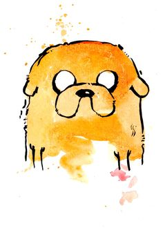 Jake the Dog v2 Mini Print 5x7 inch inch inkjet print / Adventure Time Fan Art