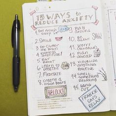 10 Bullet Journal Page Ideas To Combat Anxiety - Bullet Journal & More Bullet Journal Book, Self Care Bullet Journal, Bullet Journal Layout, Bullet Journals, Bujo, Journal Prompts, Journal Pages, Life Journal, Filofax
