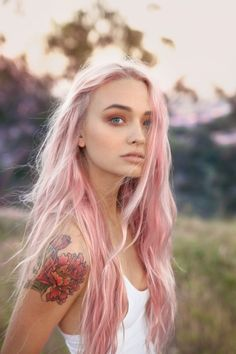 platinum pink long hippy hair - carefree pastels