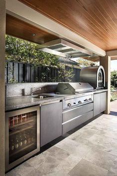 11 Useful Tips for Summer Kitchen Arrangement - Interior Design Ideas - Outdoor Kitchen Ideas Modern Outdoor Kitchen, Backyard Kitchen, Summer Kitchen, Outdoor Kitchens, Küchen Design, Patio Design, House Design, Design Ideas, Interior Design