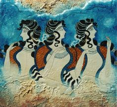 Autore sconosciuto - Danzatrici - circa 2000 a.C. - affresco - Cnosso --- Questo dipinto fu trovato nella sala del trono nell'ala Est del maestoso palazzo di Cnosso, e sta a indicare quanto fosse divinizzata e importante la figura femminile nella società minoica.