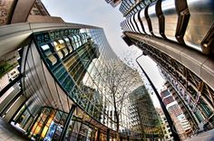 Another shot from my last day trip to London early in November. This was taken with a Fisheye lens looking up the side of Lloyds of London on the right. On the left is the Willis Building which has a genuine curved frontage, not all fisheye effect. Lloyd's Of London, London City, Creative Landscape, London Travel, Day Trip, Looking Up, Landscapes, Walls, Spaces