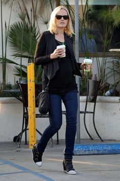 The ever glamorous Malin Akerman spotted wearing Ash 'UNITED' in black leather.