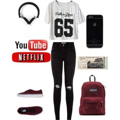 love this set ♡♡ ._. by loverofeverything8infinite on Polyvore featuring polyvore fashion style Vans JanSport Marc by Marc Jacobs