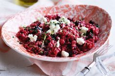 Roast beetroot & goat's cheese risotto with thyme dressing